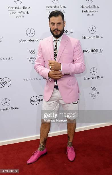 Manuel Cortez attends the Guido Maria Kretschmer show during the MercedesBenz Fashion Week Berlin Spring/Summer 2016 at Brandenburg Gate on July 8...