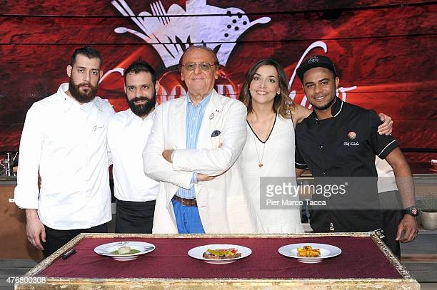 Manuel Costardi Cristian Costardi Renzo Arbore Lisa Casali and Luis Miguel pose before the Italian TV show 'The Cooking Show' at the Expo 2015 on...