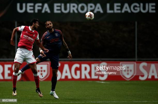 Manuel da Costa of Medipol Basaksehir in action against Ahmed Hassan during the UEFA Europa League Group C match between Sporting Braga and Medipol...