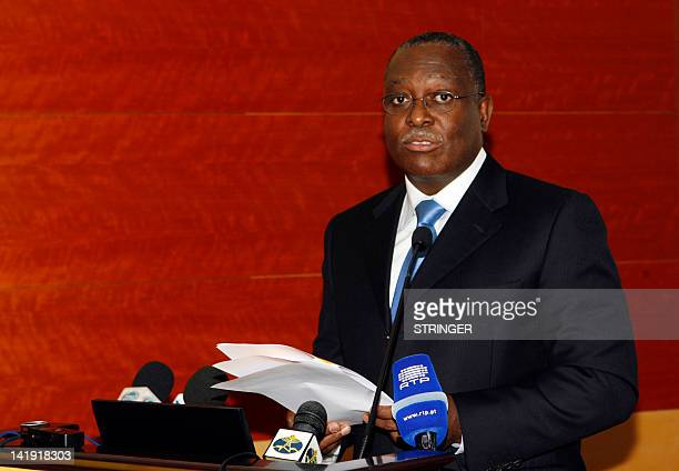 Manuel Domingos Vicente head of Angola's powerful state oil company Sonangol and righthand man of Angola's President speaks on Febuary 25 2011 in...