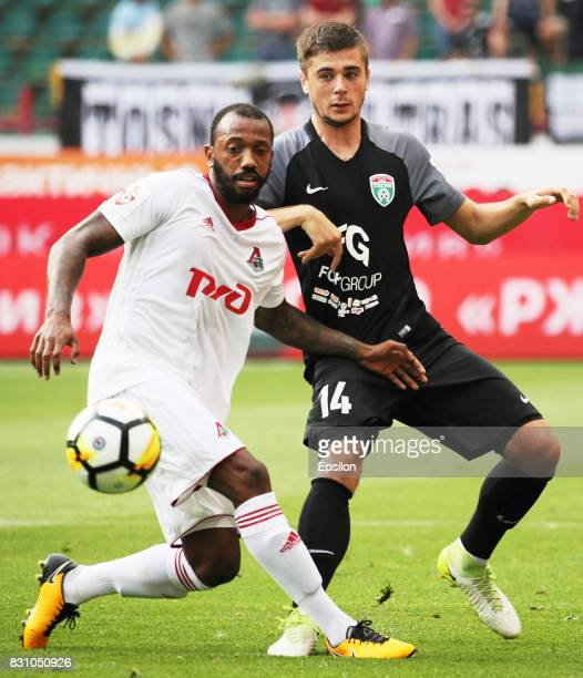 Manuel Fernandes of FC Lokomotiv Moscow vies for the ball with Alyaksandr Karnitsky of FC Tosno Khabarovsk during the Russian Premier League match...