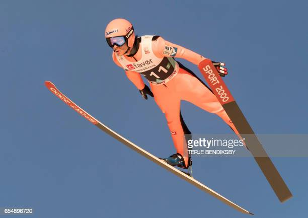 Manuel Fettner from Austria soars during the FIS Ski Jumping World Cup Men´s Team HS225 in Vikersund on March 18 2017 / AFP PHOTO / NTB Scanpix /...