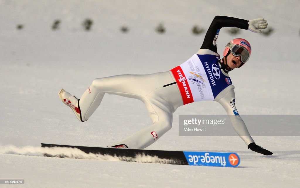 Manuel Fettner of Austria loses a ski during the Men's Ski Jumping Team HS134 Final Round at the FIS Nordic World Ski Championships on March 2, 2013 in Val di Fiemme, Italy.