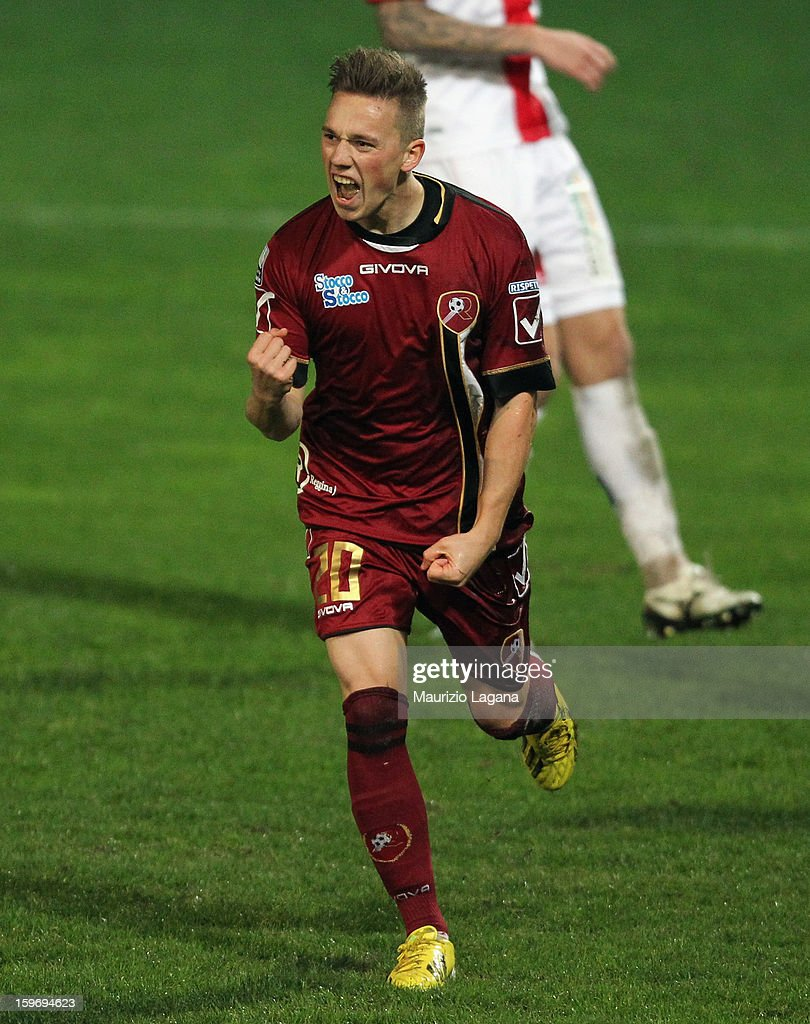 Manuel Fishnaller of Reggina celebrates after scoring his team's second goal during the friendly match between Reggina Calcio and FC Sion on January 18, 2013 in Reggio Calabria, Italy.
