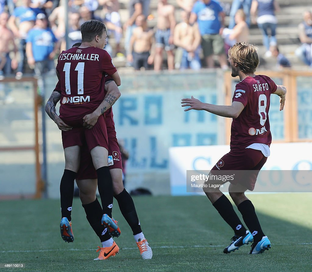 Manuel Fishnaller of Reggina celebrates the opening goal during the Serie A match between Reggina Calcio and Brescia Calcio on May 10, 2014 in Reggio Calabria, Italy.