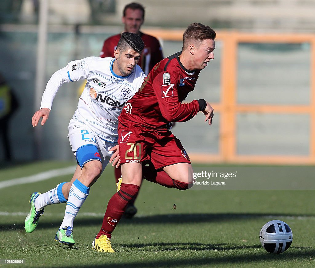 Manuel Fishnaller (R) of Reggina competes for the ball with Elseid Hysaj of Empoli during the Serie A match between Reggina Calcio and Empoli FC at Stadio Oreste Granillo on December 30, 2012 in Reggio Calabria, Italy.