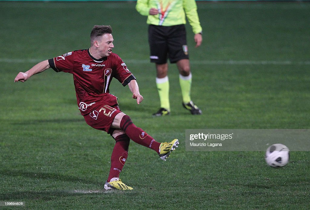 Manuel Fishnaller of Reggina scores his team's second goal with penalty during the friendly match between Reggina Calcio and FC Sion on January 18, 2013 in Reggio Calabria, Italy.