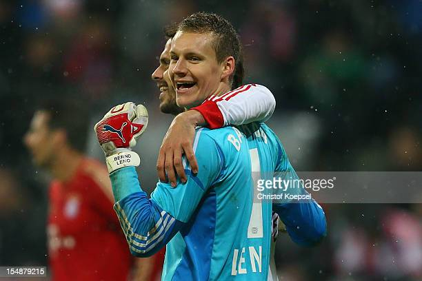 Manuel Friedrich and Bernd Leno of Leverkus celebrate the 21 victory after the Bundesliga match between FC Bayern Muenchen and Bayer 04 Leverkusen at...