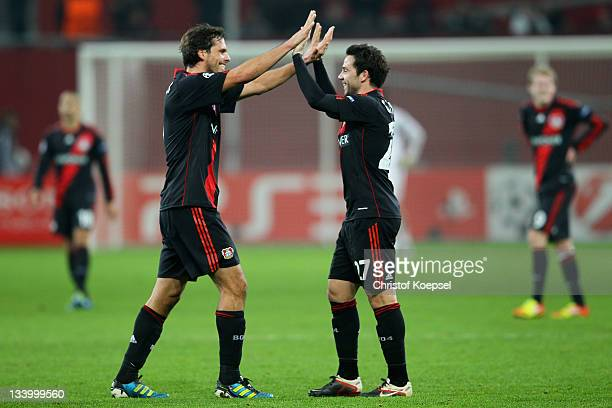 Manuel Friedrich and Gonzalo Castro of Leverkusen celebrate the 21 victory after the UEFA Champions League group E match between Bayer 04 Leverkusen...