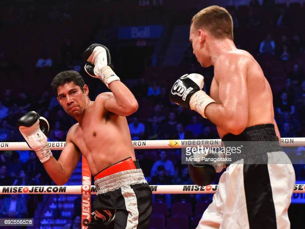 Manuel Garcia defends himself against Dario Bredicean during the super middleweight match at the Bell Centre on June 3 2017 in Montreal Quebec Canada...