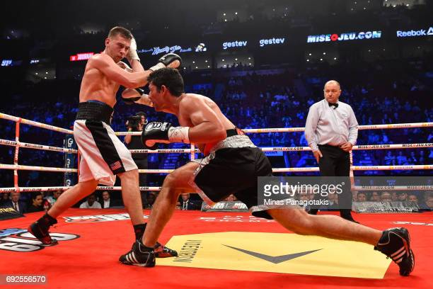 Manuel Garcia lands a punch against Dario Bredicean during the super middleweight match at the Bell Centre on June 3 2017 in Montreal Quebec Canada...