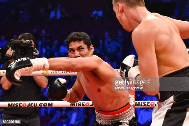 Manuel Garcia misses his punch against Dario Bredicean during the super middleweight match at the Bell Centre on June 3 2017 in Montreal Quebec...