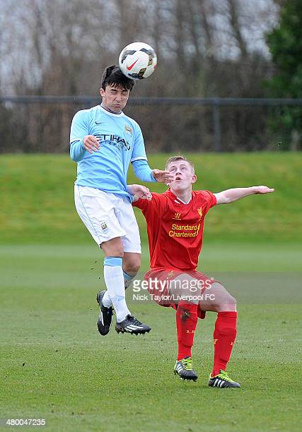 Manuel Garcia of Manchester City and Liam Griffin of Liverpool in action during the Barclays Premier League Under 18 fixture between Liverpool and...