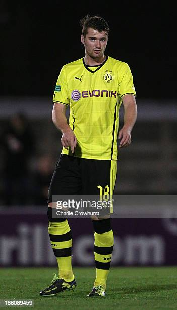 Manuel Greshake of Borussia Dortmund during the UEFA Youth League match between Arsenal U19 and Borussia Dortmund U19 at Meadow Park on October 23...