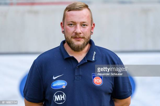 Manuel Henck of 1 FC Heidenheim poses during the team presentation at Voith Arena on July 8 2017 in Heidenheim Germany