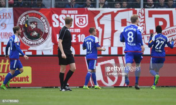 Manuel Janzer of Holstein Kiel celebrates his side's third goal during the 3 Liga match between Jahn Regensburg and Holstein Kiel on April 29 2017 in...
