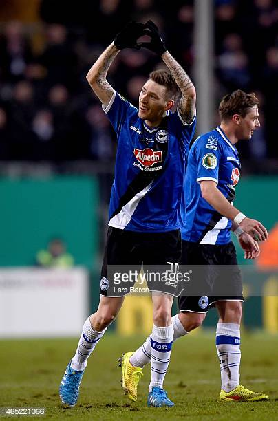 Manuel Junglas of Arminia Bielefeld celebrates after scoring his teams first goal during the round of 16 DFB Cup match between Arminia Bielefeld and...