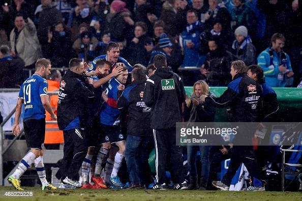 Manuel Junglas of Arminia Bielefeld celebrates his teams third goal during the round of 16 DFB Cup match between Arminia Bielefeld and Werder Bremen...