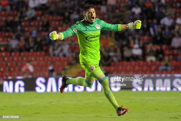 Manuel Lajud Goalkeeper of Tijuana celebrates during the 6th round match between Queretaro and Tijuana as part of the Torneo Apertura 2017 Liga MX at...