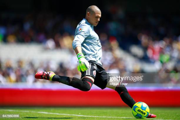 Manuel Lajud goalkeeper of Xolos kicks the ball during the 7th round match between Pumas UNAM and Tijuana as part of the Torneo Clausura 2017 Liga MX...