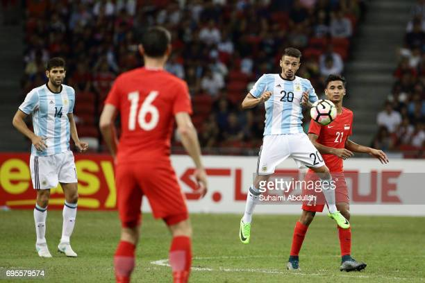 Manuel Lanzini of Argentina controls the ball during the International Test match between Argentina and Singapore at National Stadium on June 13 2017...