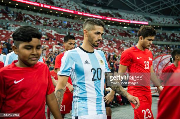 Manuel Lanzini of Argentina getting into the field during the International Test match between Argentina and Singapore at National Stadium on June 13...