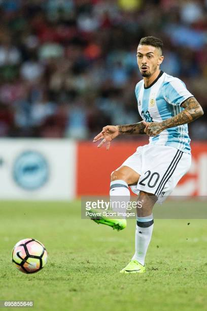 Manuel Lanzini of Argentina in action during the International Test match between Argentina and Singapore at National Stadium on June 13 2017 in...