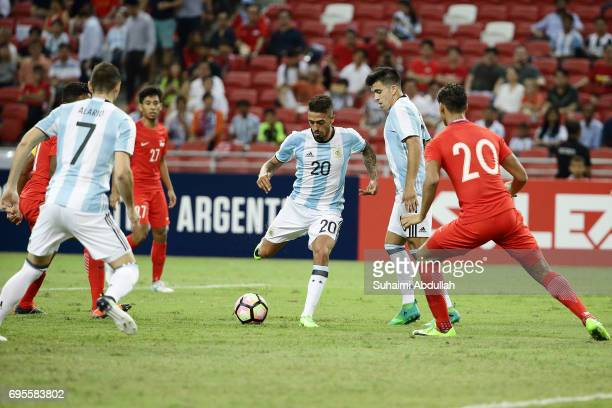 Manuel Lanzini of Argentina lines up a shot during the International Test match between Argentina and Singapore at National Stadium on June 13 2017...