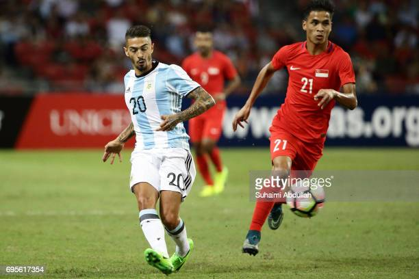 Manuel Lanzini of Argentina makes a pass during the International Test match between Argentina and Singapore at National Stadium on June 13 2017 in...
