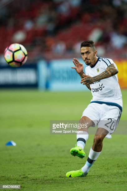 Manuel Lanzini of Argentina warming up during the International Test match between Argentina and Singapore at National Stadium on June 13 2017 in...