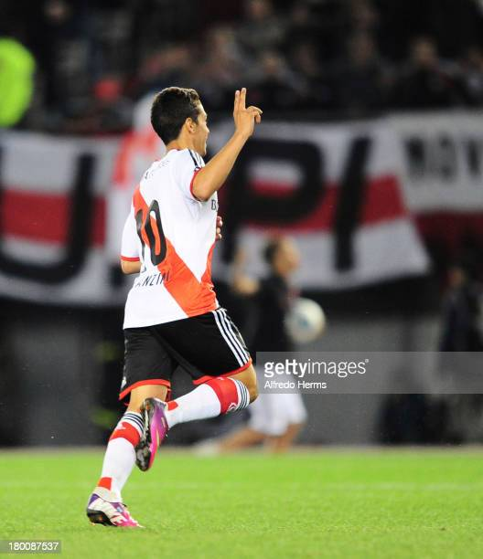 Manuel Lanzini of River Plate celebrates a scored goal during a match between River Plate and Tigre as part of the 6th round of the Torneo Inicial...