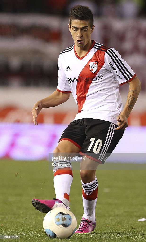 <a gi-track='captionPersonalityLinkClicked' href=/galleries/search?phrase=Manuel+Lanzini&family=editorial&specificpeople=7150862 ng-click='$event.stopPropagation()'>Manuel Lanzini</a>, of River Plate, in action during a match between River Plate and All Boys as part of the Torneo Inicial 2013 at Monumental Stadium on September 22, 2013 in Buenos Aires, Argentina.