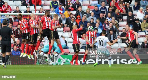 Manuel Lanzini of West Ham takes a free kick during the Premier League match between Sunderland and West Ham United at Stadium of Light on April 15...