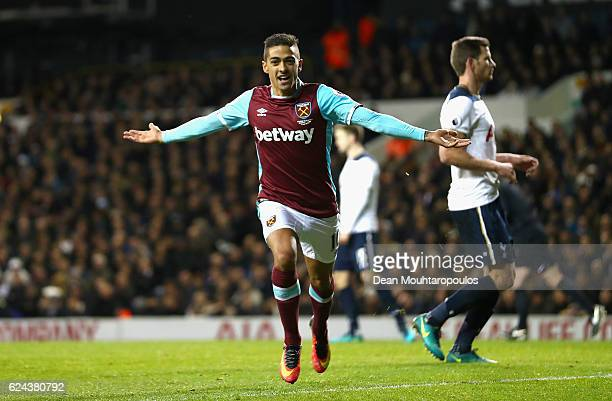 Manuel Lanzini of West Ham United celebrates scoring his sides second goal during the Premier League match between Tottenham Hotspur and West Ham...