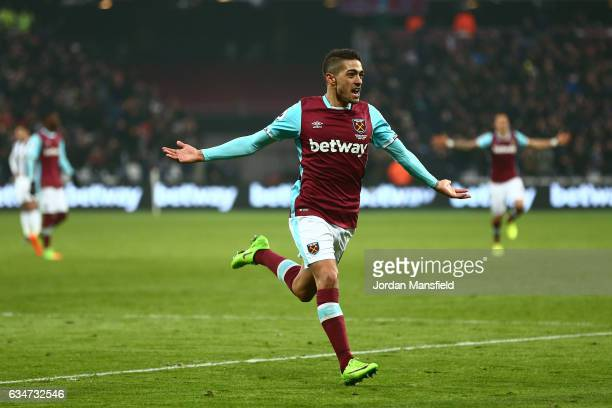Manuel Lanzini of West Ham United celebrates scoring his side's second goal during the Premier League match between West Ham United and West Bromwich...