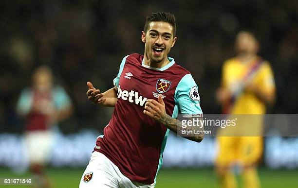 Manuel Lanzini of West Ham United celebrates scoring his sides third goal during the Premier League match between West Ham United and Crystal Palace...