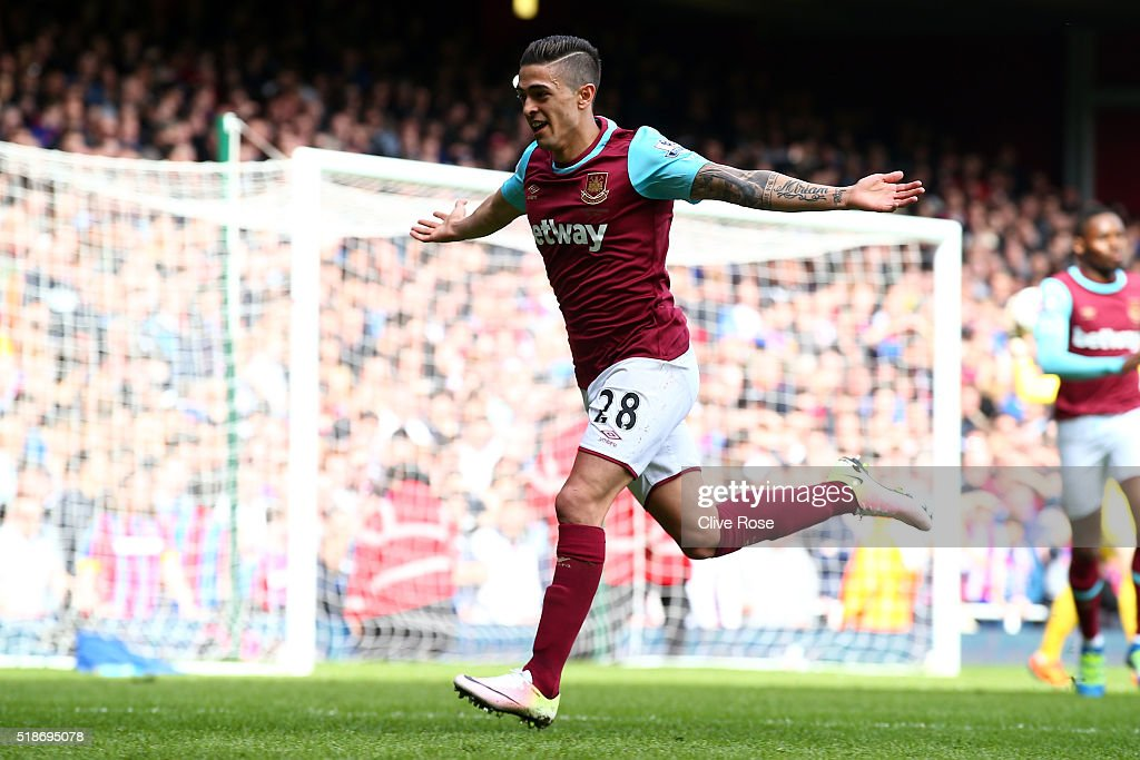<a gi-track='captionPersonalityLinkClicked' href=/galleries/search?phrase=Manuel+Lanzini&family=editorial&specificpeople=7150862 ng-click='$event.stopPropagation()'>Manuel Lanzini</a> of West Ham United celebrates scoring his team's first goal during the Barclays Premier League match between West Ham United and Crystal Palace at the Boleyn Ground on April 2, 2016 in London, England.