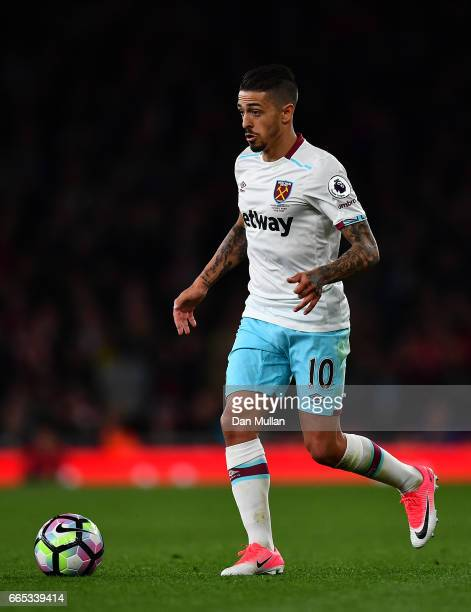 Manuel Lanzini of West Ham United controls the ball during the Premier League match between Arsenal and West Ham United at Emirates Stadium on April...