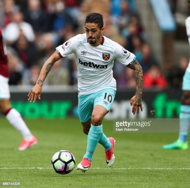 Manuel Lanzini of West Ham United during the the Premier League match between Burnley and West Ham United at Turf Moor on May 21 2017 in Burnley...