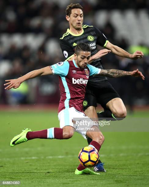 Manuel Lanzini of West Ham United scores his sides first goal during the Premier League match between West Ham United and Chelsea at London Stadium...