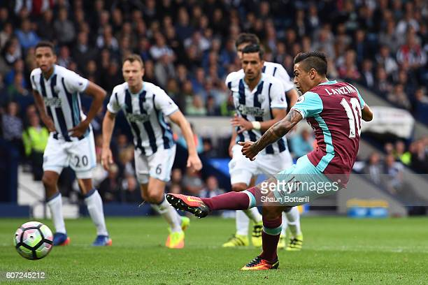 Manuel Lanzini of West Ham United scores his sides second goal during the Premier League match between West Bromwich Albion and West Ham United at...