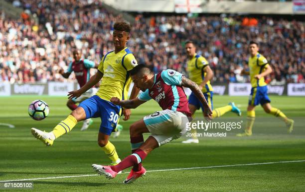 Manuel Lanzini of West Ham United skillfully crosses the ball during the Premier League match between West Ham United and Everton at the London...