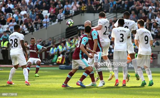 Manuel Lanzini of West Ham United takes a freekick during the Premier League match between West Ham United and Swansea City at London Stadium on...