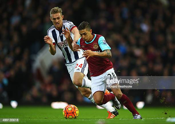 Manuel Lanzini of West Ham United takes on Darren Fletcher of West Bromwich Albion during the Barclays Premier League match between West Ham United...