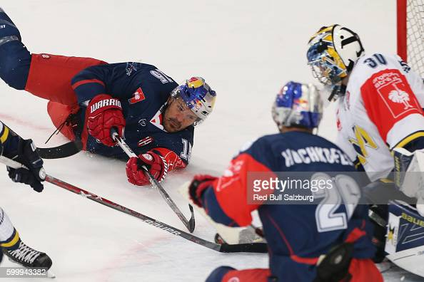 Manuel Latusa of EC Red Bull Salzburg and Linus Soderstrom of HV71 Jonkoping during the Champions Hockey League match between Red Bull Salzburg and...