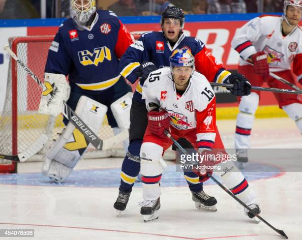 Manuel Latusa of Red Bull Salzburg in action during the Champions Hockey League group stage game between HV71 Jonkoping and Red Bull Salzburg on...