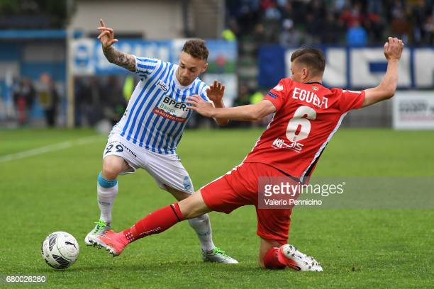 Manuel Lazzari of SPAL is tackled by Fabio Eguelfi of FC Pro Vercelli during the Serie B match between SPAL and FC Pro Vercelli at Stadio Paolo Mazza...