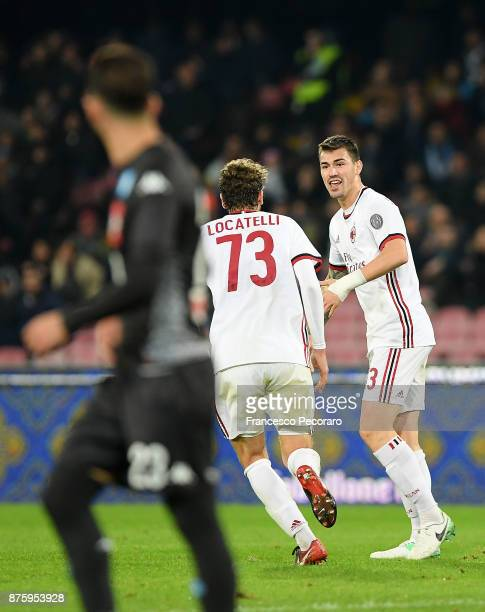 Manuel Locatelli and Alessio Romagnoli of AC Milan celebrate the 21 goal scored by Alessio Romagnoli beside the disappointment of Jose Calleon player...