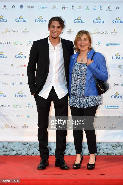 Manuel Locatelli and his mother attend the Gentleman Prize on May 22 2017 in Milan Italy