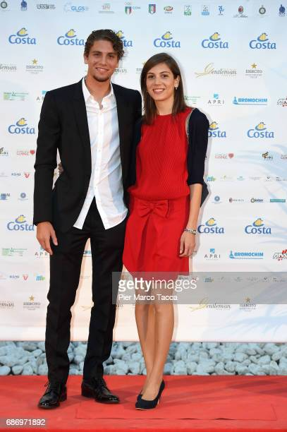 Manuel Locatelli and his sister Martina Locatelli attend the Gentleman Prize on May 22 2017 in Milan Italy